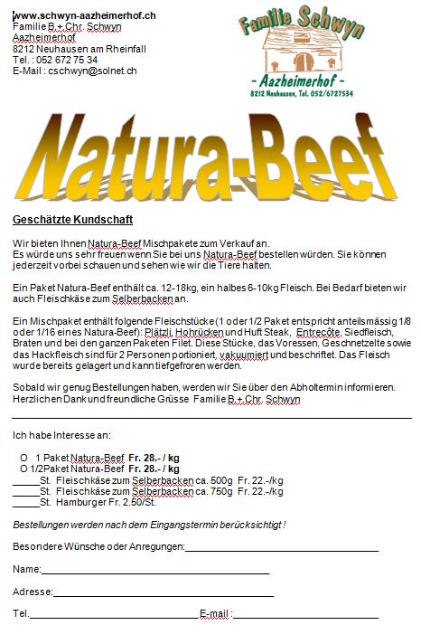 Natura-Beef Bestellung